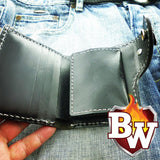 This picture is a view of the inside of the 5 inch biker wallet Al Capone.  You can see the credit card slots and the snapping coin pocket.  A great everyday carry edc wallet or gift wallet.