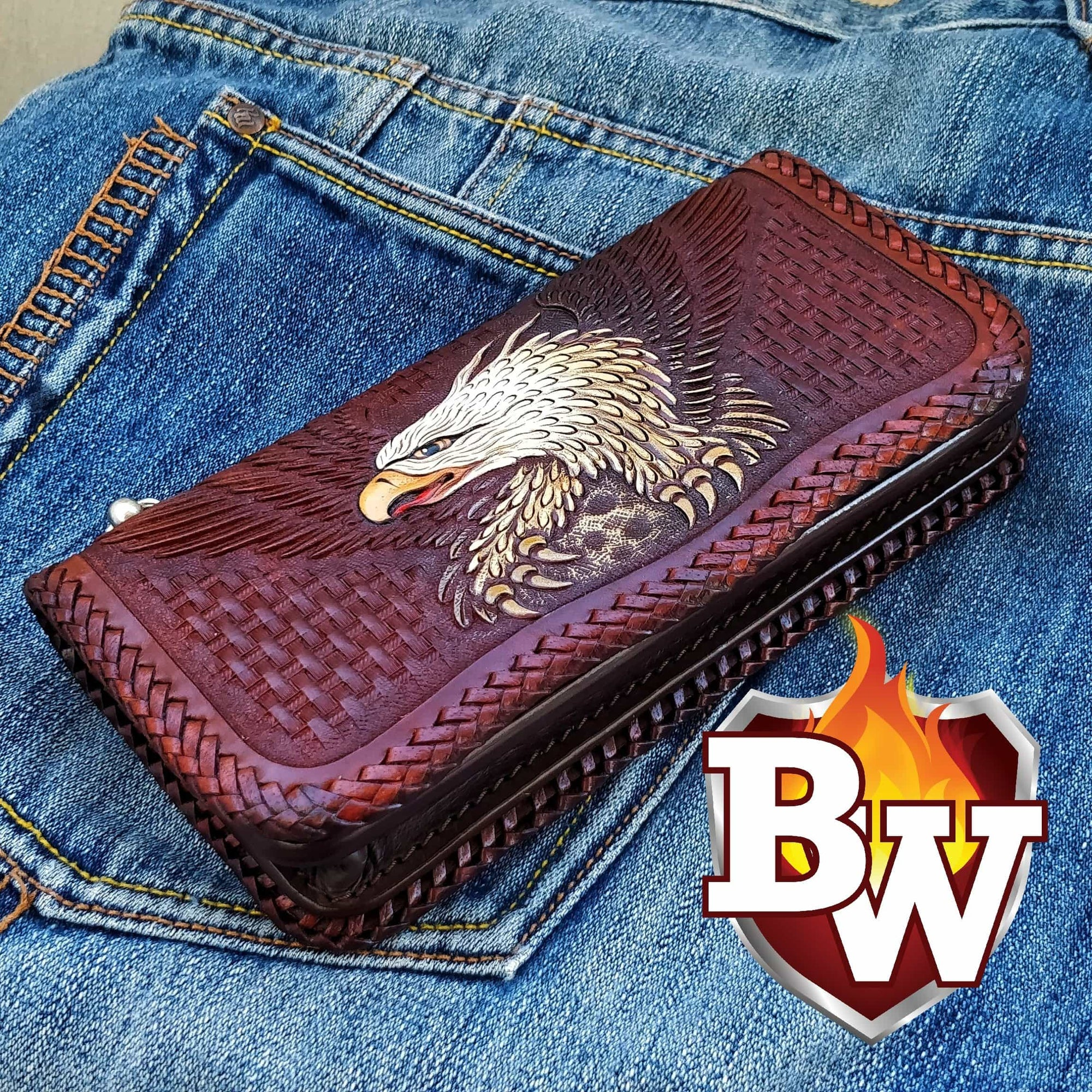 Bald Eagle 8 Custom Handmade Hand Tooled Leather Men's Biker Wallet. - Handcrafted Quality Genine Leather Backed by a 5-Year Warranty - Biker-Wallets.com
