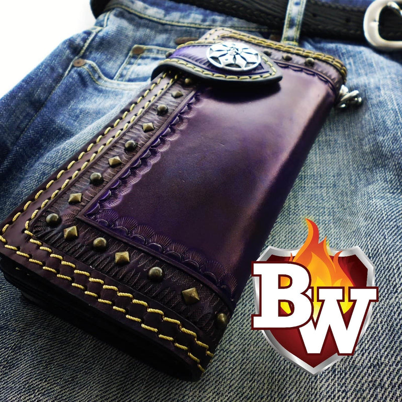 """Desert Eagle"" 8"" Custom Handmade Leather Men's Biker Wallet"