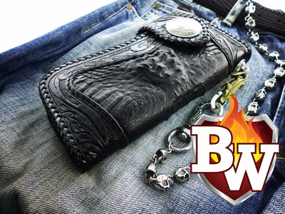 Brown Reaper 8-inch  Men's Biker Chain Wallet | Custom Handmade Men's Leather Wallets at Biker-Wallets.com