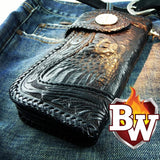 This is a front view of the famous REAPER Biker Wallet.  You can see from the photo, this 8 inch biker wallet is top notch.  Made from Crocodile skin and leather,  You can see the chain secure to fasten your wallet chain to.  The fastener is a 925 silver concho with tension snap.  A great gift wallet.