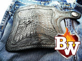 This is a full view of the backside of the reaper biker wallet in eight inch.  You can see the contrasting crocodile skin and the hand tooled leather.  The wallet is by far one of the most skilled leatherwork biker wallet out there.  The best biker wallet you can get.