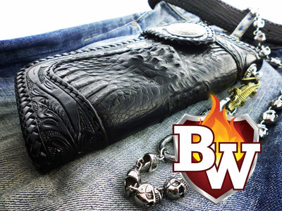 Reaper 8-inch  Men's Biker Chain Wallet | Custom Handmade Men's Leather Wallets at Biker-Wallets.com