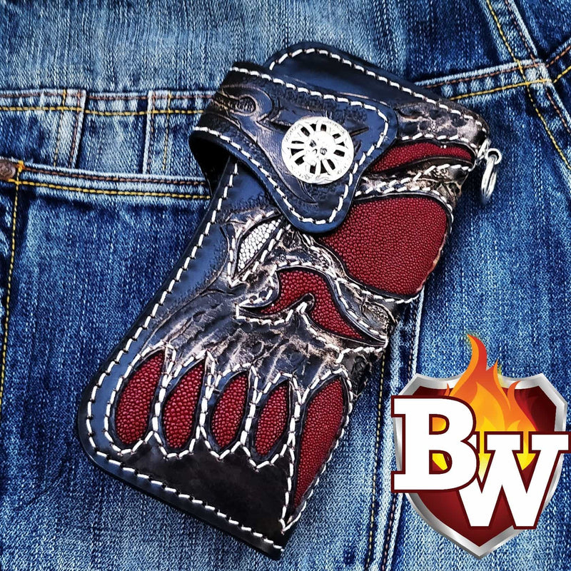 Redbeard's Skull 8 Custom Handmade Stingray Men's Biker Wallet - Handcrafted Quality Genine Leather Backed by a 5-Year Warranty - Biker-Wallets.com