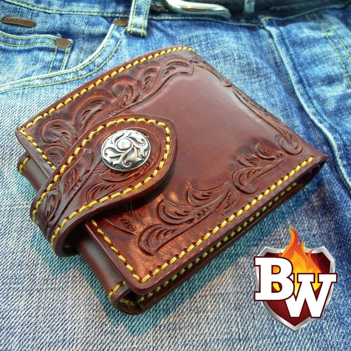"""Billy The Kid"" 4"" Custom Handmade Leather Men's Biker Wallet"