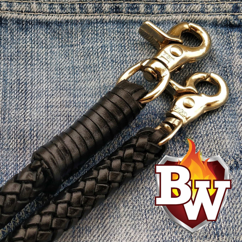Black Custom Lanyard Handmade Men's Biker Wallet Secure Leather Rope