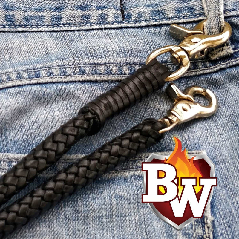 Hand Braided Genuine Leather Lanyard Handmade Men's Biker Wallet Secure Rope
