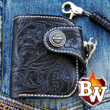 """Derringer"" 4"" Custom Handmade Black Hand Carved Leather Biker Wallet"