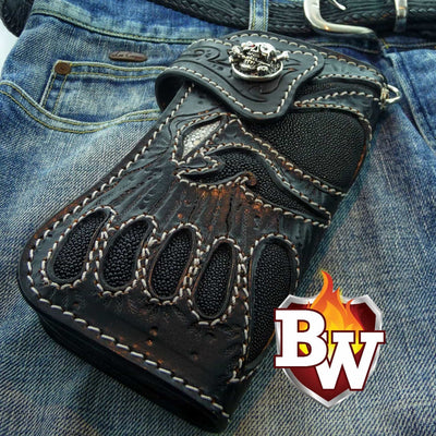 """Blackbeard's Skull"" Custom Handmade Black Stingray Men's Biker Wallet 8"" 6"""