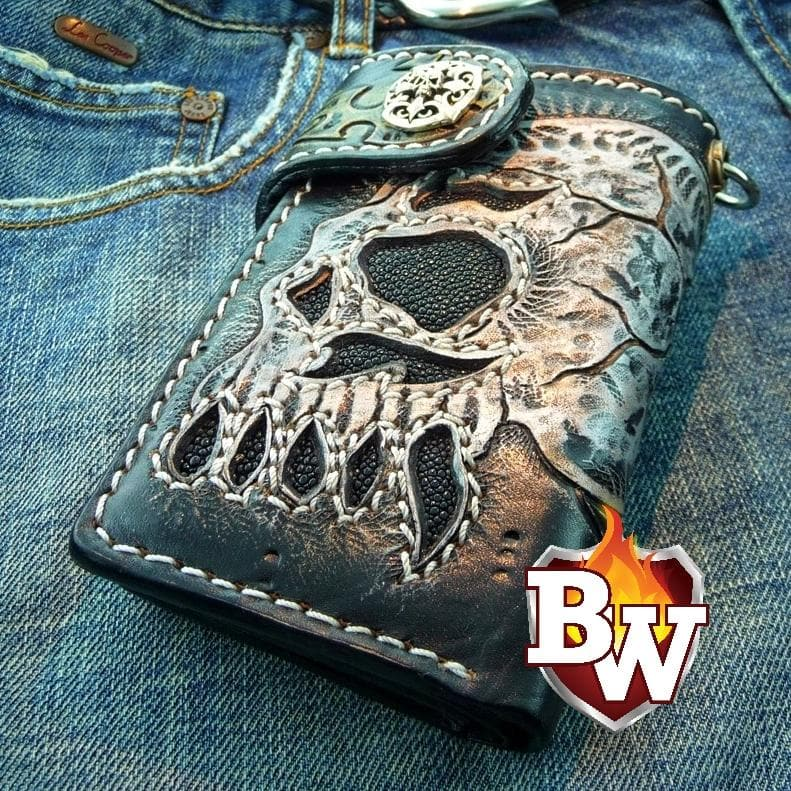 """Skulls"" 6"" Handmade Hand Tooled Skull Themed Biker Wallets"