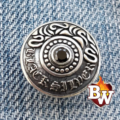 Radial  .925 Silver Snap Concho Cap for Biker Wallet | Custom Handmade Men's Leather Wallets at Biker-Wallets.com
