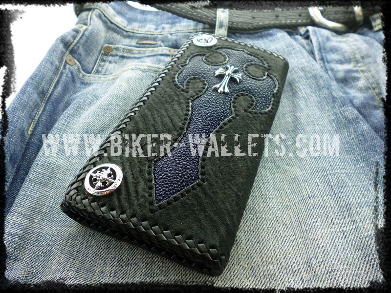 """Sacrifice"" 8"" Shark and Stingray Custom Handmade Men's Biker Wallet"