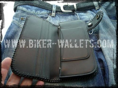 Blue Shark 8 Custom Handmade Men's Biker Wallet - Handcrafted Quality Genine Leather Backed by a 5-Year Warranty - Biker-Wallets.com