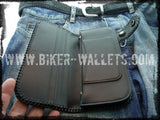 """Blue Shark"" 8"" Custom Handmade Men's Biker Wallet"