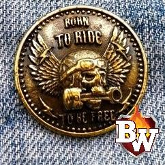 Skulls  Brass Concho Snap Cap For Biker Wallet | Custom Handmade Men's Leather Wallets at Biker-Wallets.com