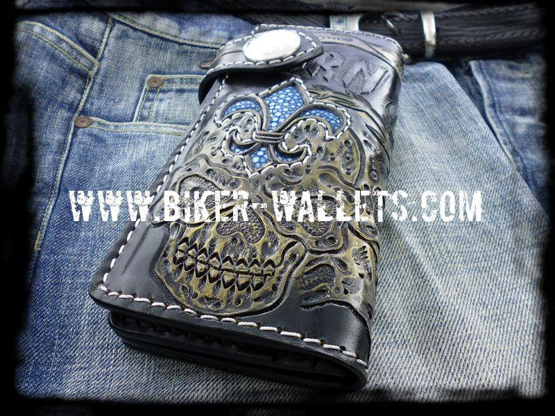 """Born From Hell"" 8"" Custom Handmade Stingray Men's Biker Wallet"