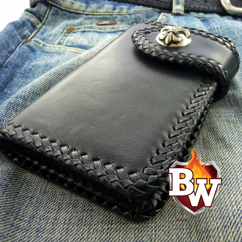 """Buster"" 6"" Custom Handmade Leather Men's Biker Wallet"