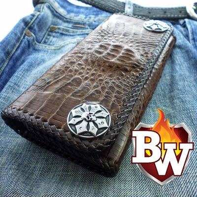 Caiman Trifold 8-inch  Men's Biker Chain Wallet | Custom Handmade Men's Leather Wallets at Biker-Wallets.com
