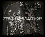 """Pirates Of The Caribbean"" 8"" Custom Handmade Hand Tooled Leather Men's Biker Wallet"