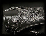 Pirates Of The Caribbean 8 Custom Handmade Hand Tooled Leather Men's Biker Wallet - Handcrafted Quality Genine Leather Backed by a 5-Year Warranty - Biker-Wallets.com