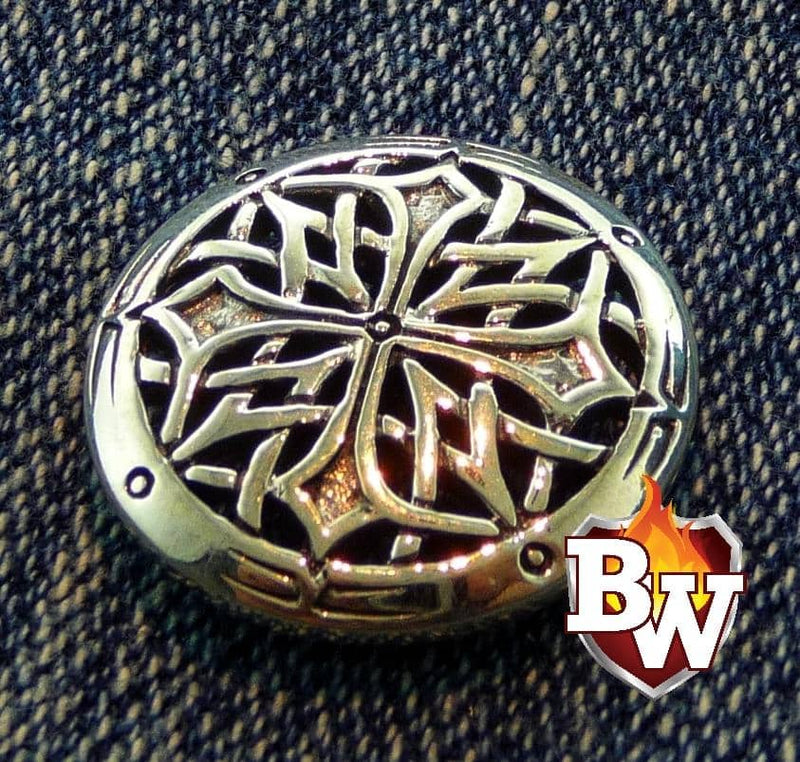 """Celtic"" .925 Silver Snap Concho Cap for Custom Biker Wallet"
