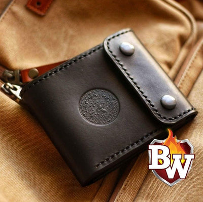 Classic V2-inch 4-inch Leather Biker Chain Wallet | Custom Handmade Men's Leather Wallets at Biker-Wallets.com