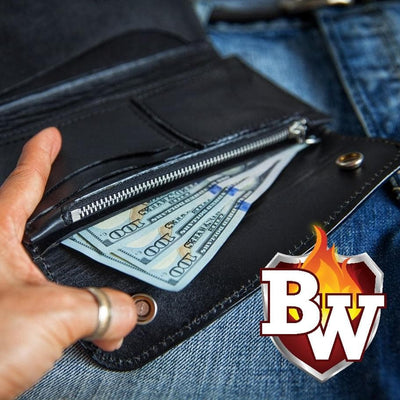CLASSIC V2-inch 8-inch  Black Leather Men's Biker Wallet | Custom Handmade Men's Leather Wallets at Biker-Wallets.com