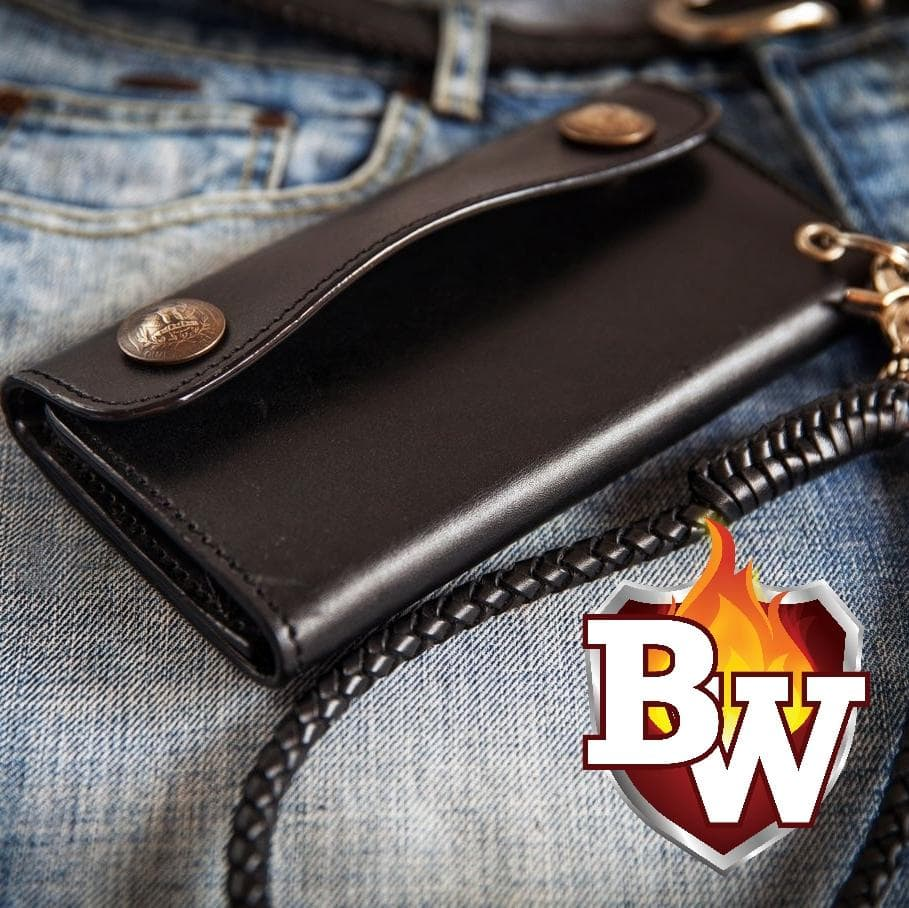 """CLASSIC V2"" 8"" Custom Handmade Black Leather Men's Biker Wallet"