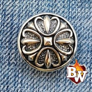 Plain Radial Radial  .925 Silver Snap Concho Cap for Biker Wallet | Custom Handmade Men's Leather Wallets at Biker-Wallets.com