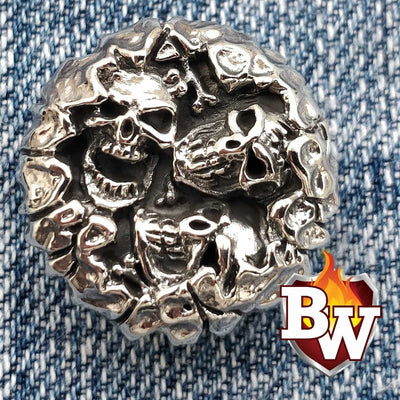 Bullseye Skulls  .925 Silver Snap Concho Cap For Biler Wallet | Custom Handmade Men's Leather Wallets at Biker-Wallets.com
