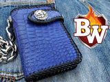 """Cobalt"" 6"" Biker Chain Wallet and Bobber Biker Chain Set"