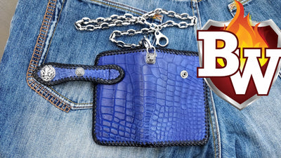 Cobalt 6-inch Biker Chain Wallet and Bobber Biker Chain Set | Custom Handmade Men's Leather Wallets at Biker-Wallets.com