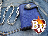 This is another full frontal view of the blue crocodile wallet they call COBALT.  It shows the 925 silver concho snap, the chain connector, and the incredible cobalt blue crocodile skin.