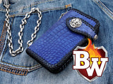 "A frontal view of the 6"" Cobalt Biker Wallet."