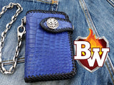 "This is a frontal view of the COBALT 6"" Biker Wallet.  You can see from the photo, it is all handmade with hand stitching all around the edges.  The main outer material is blue crocodile.  The concho snap is .925 Silver.  The chain secure swivels and is made from 316L Stainless Steel."