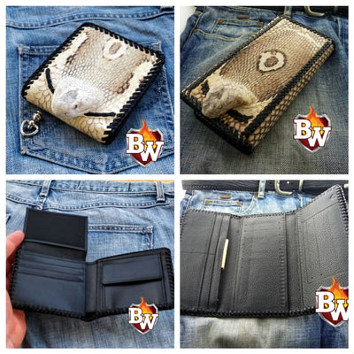 """Cobra"" 8"" 5"" Custom Handmade Snake Men's Biker Wallet"