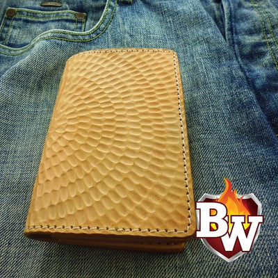 """Cochella"" 6"" Handmade  Saddle Leather Biker Wallet"