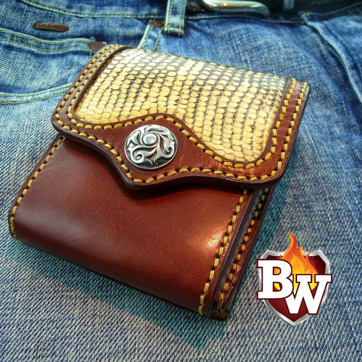 """Convertible"" 4"" Custom Handmade Leather Lizard Men's Biker Wallet"