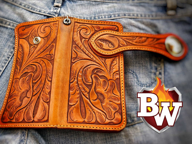 "The ""Craftsman"" 8"" Leather Handmade Hand Tooled Biker Wallet"