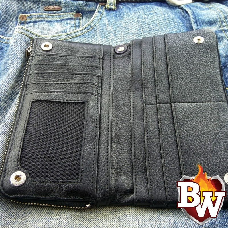 """Criminal"" 8"" Custom Handmade Leather Men's Biker Wallet"