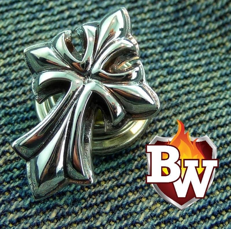"""Cross"" .925 Silver Snap Concho Cap for Custom Biker Wallet"