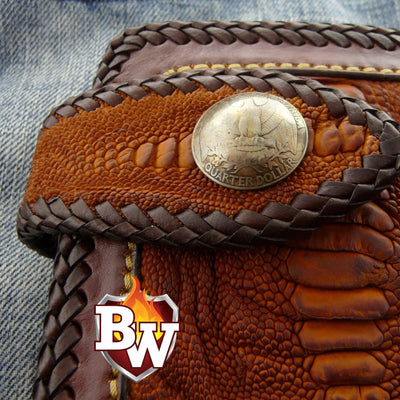 Cross Country  6-inch  Pip Squeek Ostrich Men's Biker Wallet | Custom Handmade Men's Leather Wallets at Biker-Wallets.com