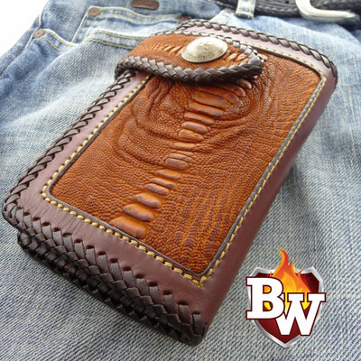 Brown Cross Country  6-inch  Pip Squeek Ostrich Men's Biker Wallet | Custom Handmade Men's Leather Wallets at Biker-Wallets.com