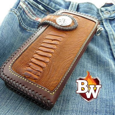 Black Cross Country 8-inch  Ostrich Men's Biker Wallet | Custom Handmade Men's Leather Wallets at Biker-Wallets.com