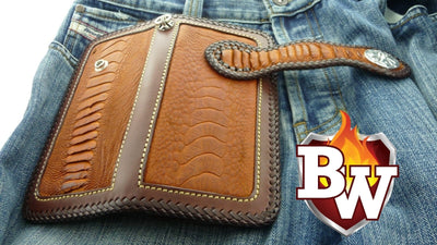 Cross Country 8-inch  Ostrich Men's Biker Wallet | Custom Handmade Men's Leather Wallets at Biker-Wallets.com