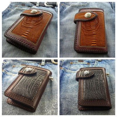 Tan Cross Country  6-inch  Pip Squeek Ostrich Men's Biker Wallet | Custom Handmade Men's Leather Wallets at Biker-Wallets.com