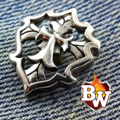 Cross Shield 2-inch .925 Silver Snap Concho Cap for Custom Biker Wallet | Custom Handmade Men's Leather Wallets at Biker-Wallets.com