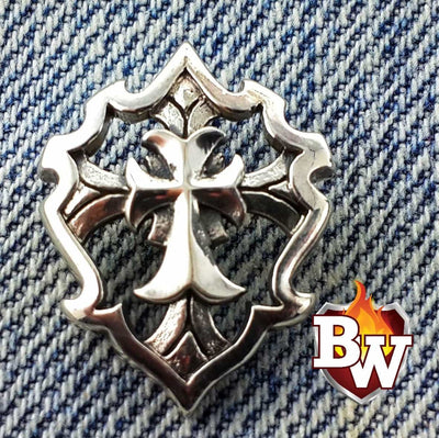 """Cross Shield 2"" .925 Silver Snap Concho Cap for Custom Biker Wallet"