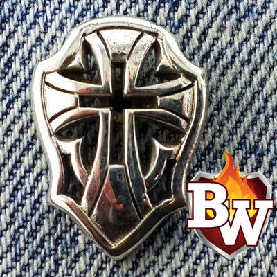 """Cross Shield"" .925 Silver Snap Concho Cap for Custom Biker Wallet"