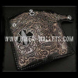 """Crowley"" 8"" Custom Handmade Black Stingray and Leather Men's Biker Wallet - Biker Wallets"